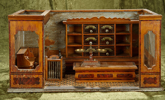 """23""""l. German wooden miniature store by Christian Hacker with set-aside office. $1000/1300"""