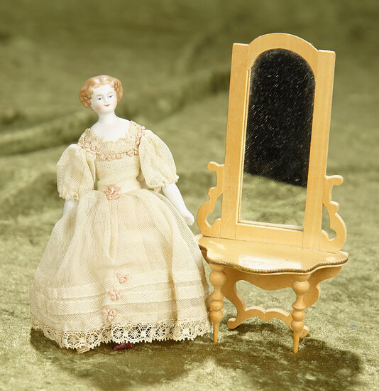 """5"""" doll.  German wooden hall mirror and early bisque dollhouse lady in petite size. $400/500"""