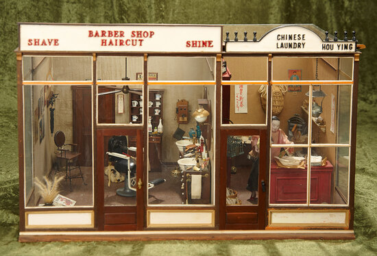"""21""""l. Miniature Barber Shop, Chinese Laundry from Studio Workshop of William Helton $800/1100"""