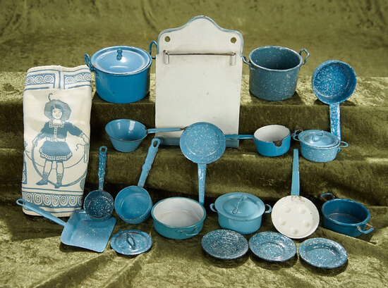 Large Lot of German blue enamelware for doll and dollhouse kitchens. $400/500