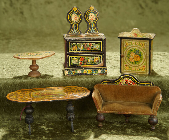 """6""""l. table. Five German wooden dollhouse furnishings with lithographed paper designs. $400/500"""