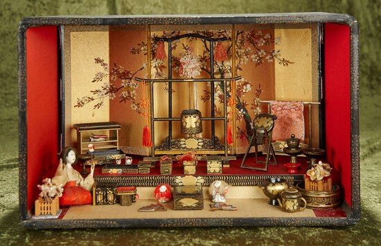 """16""""l. Japanese wooden doll room, paper mache doll and collection of lacquer furniture. $600/800"""