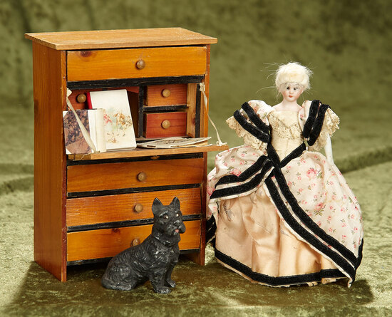 """7"""" German bisque dollhouse lady by Simon & Halbig, with desk, books, and dog. $400/600"""