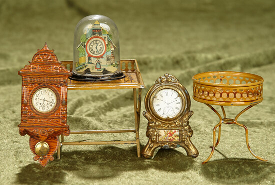 """5""""l. brown clock. Five German miniature tinware accessories for doll rooms. $400/500"""