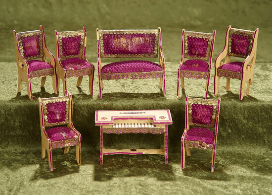"""4 1/2""""l. piano. Set of French salon furnishings by Badeuille. $400/500"""