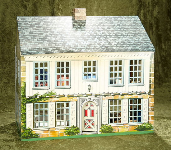 """22""""l. American 1940s Playsteel Colonial Dollhouse Filled with Furnishings by Ideal  $600/900"""