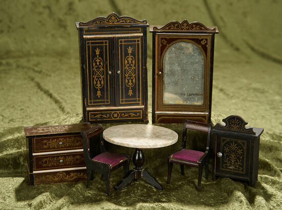 "6"" armoire. Seven pieces German Walterhausen wooden furnishings. $400/500"
