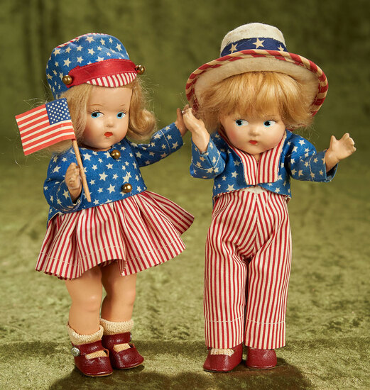 """8"""" Pair, Composition Toddles """"Uncle Sam"""" and """"Miss America"""" by Vogue. $400/500"""