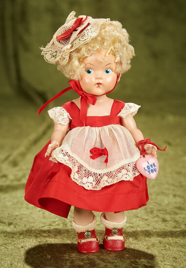 """8"""" Painted Eye Ginny in """"Valentine Special"""" Costume, #2, 1950. $400/500"""