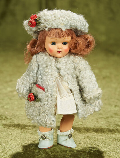 """8"""" Painted lash Ginny in blue poodle coat and hat. $400/500"""