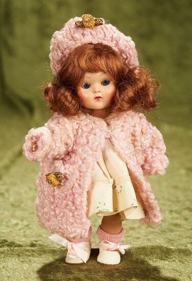 """8"""" Painted lash Ginny in pink poodle coat and hat. $300/400"""