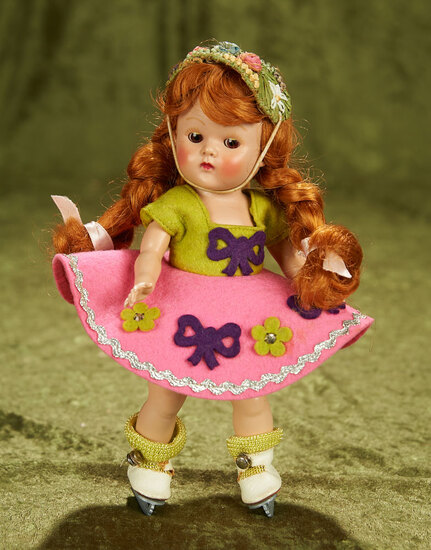 """8"""" Painted lash Ginny as """"Ice Skater"""" from Sport Series with rare red hair. $400/500"""