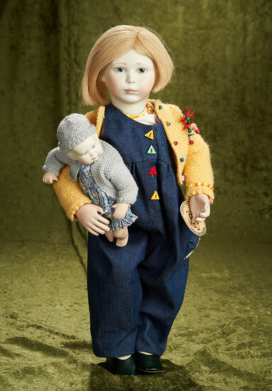 """21"""" English doll """"Beth"""" wooden articulated body, Tilly, Lynne and Michael Roche, 1989. $800/1000"""