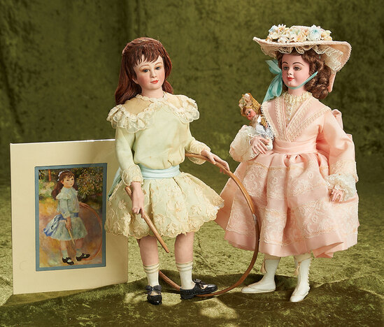 "Two 13"" Victorian girls by charter member NIADA artist Fern Deutsch. $500/700"