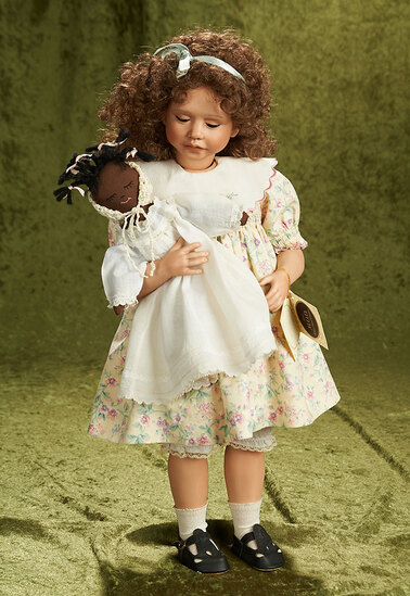 """20"""" Outstanding American bisque artist doll """"Amber"""" by Jane Zidjunas, 1990. $500/700"""