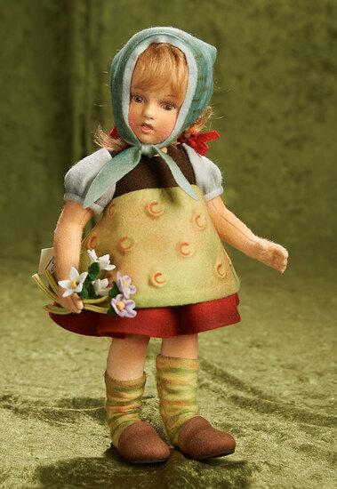 """11 1/2"""" American felt artist doll """"Marta"""" by R. John Wright, 2010. $700/900"""