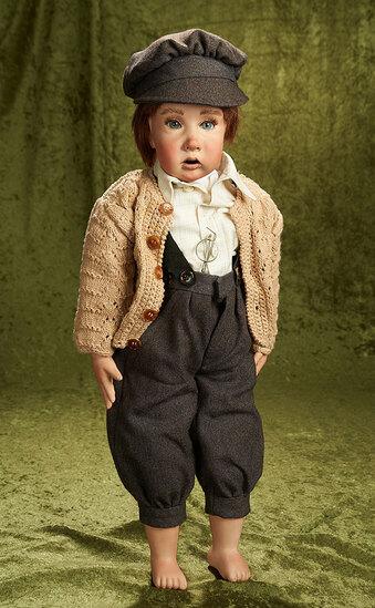 "24"" German bisque portrait of young lad ""Eduard"" by Lothar Grossle-Schmidt, 1990. $800/1100"