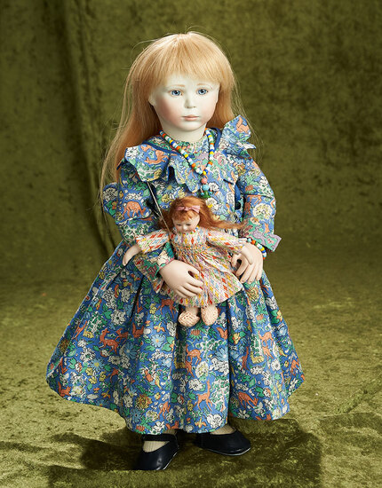 """18"""" English bisque doll """"Beth"""" wooden articulated body, Lynne and Michael Roche, 1989. $800/1100"""