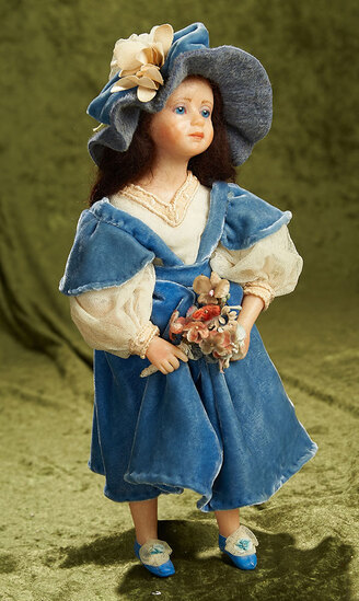 """15""""  OOAK Young Lady in Blue Velvet by Edna Daly with original tag, 1989. $700/900"""