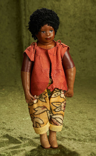 """14"""" Brown-complexioned kidskin doll by Beate Schult, 1985. $500/700"""