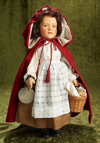 """20"""" """"Little Red Riding Hood"""" by R. John Wright with basket of food, 1991. $900/1100"""