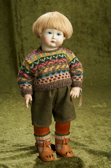 """17"""" Bisque character doll """"Freddy"""" wooden articulated body, Lynne and Michael Roche. $800/1100"""
