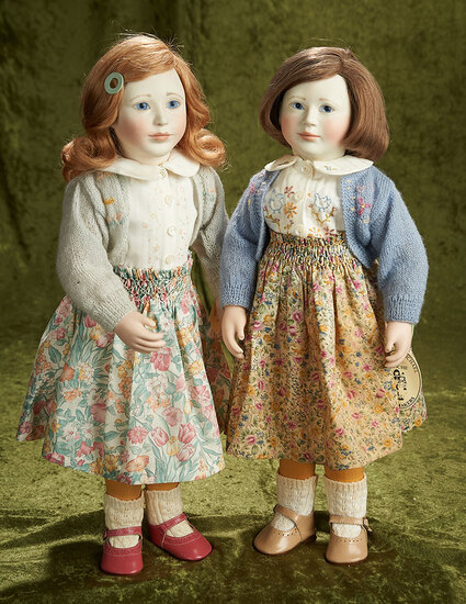 """18"""" & 19"""" Sister-set """"Mary"""" and Emily"""", for New York Toy Fair, wooden bodies, 1992. $1800/2200"""