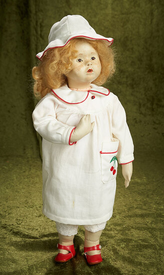 """19"""" """"Cerise"""", French leather sculpted doll by Malou Ancelin, 1990. $400/500"""