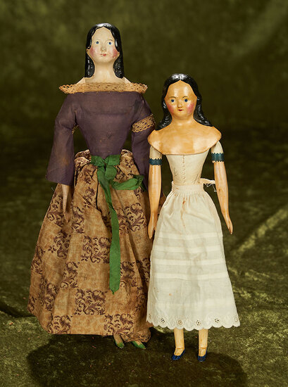 """10"""" and 12"""" Two German paper mache milliner's models"""