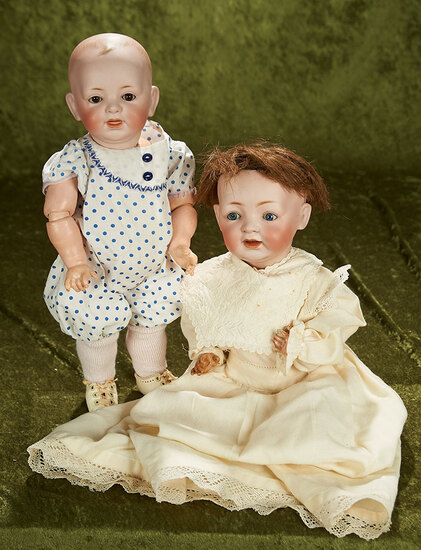 """15""""-16"""" Pair of German bisque character babies by Kestner with excellent bisque."""