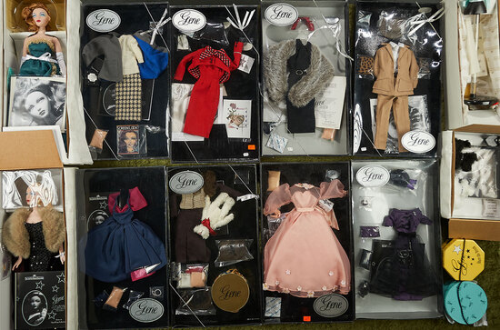 """15"""" Pair of vintage Gene dolls by Mel Odom with many fashion packs, dogs and dress forms."""