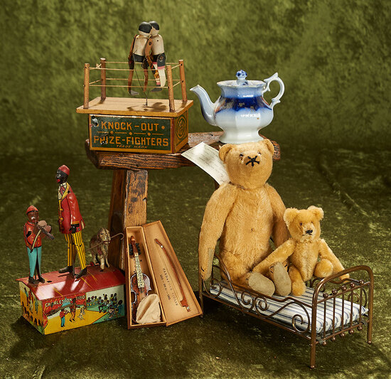 """9"""" Golden mohair bear, Charleston Trio mechanical toy, brass bed, and more"""