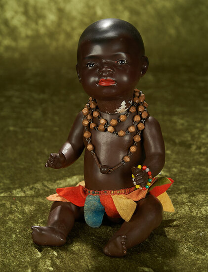 "12"" German bisque brown-complexioned doll, model 399, by Heubach Koppelsdorf."