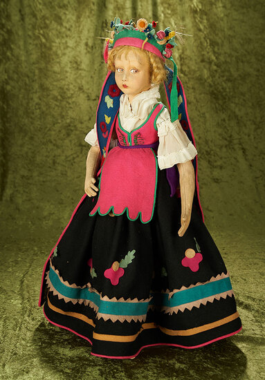 Italian felt salon lady by Lenci with elaborate headdress and original costume