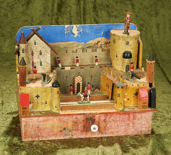 """15"""" x 11"""" German musical mechanical wooden diorama of soldiers in fort"""