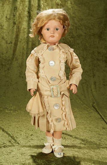 """22"""" American wooden girl by Schoenhut with original paint and original shoes."""
