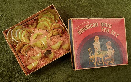 "14"" x 12"" box. 4 1/2"" teapot. ""The Little American Maid Tea Set"", original box in Akro Agate finish."