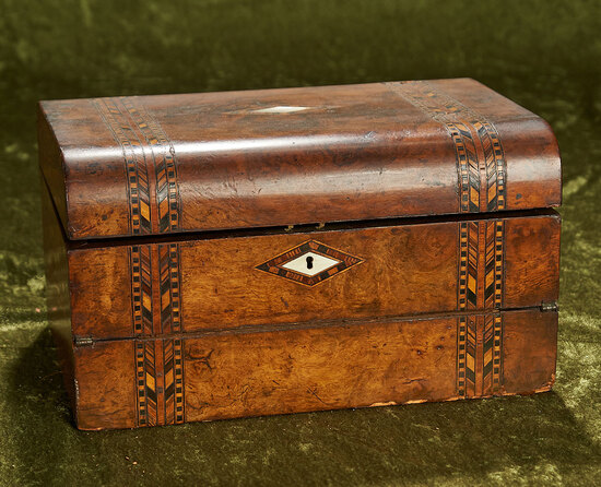 """12""""l. Victorian burled walnut writing box with velvet-lined interior and mother of pearl inlay"""