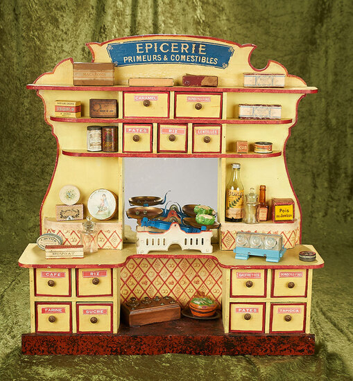 """23"""" French wooden toy """"Epicerie"""" with food items, labeled drawers. tin scale and contents."""