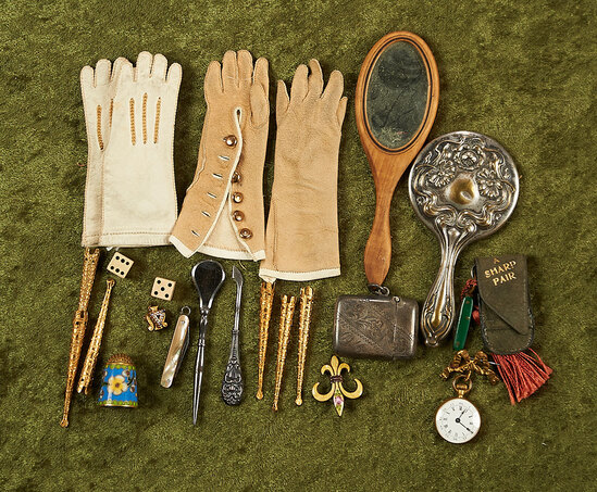 """Nice group of antique accessories perfectly sized for 17""""-18"""" French poupees."""