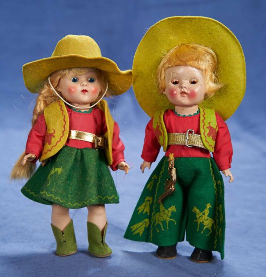 "8"" (20 cm.) Pair of Blonde Cowboy and Girl Ginny Dolls by Vogue 200/400"