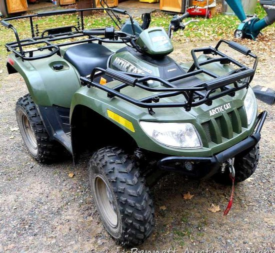 Arctic Cat 500 4WD ATV with only 81 miles. Tires still have mold nubs. Vinyl seat is great. Heavy