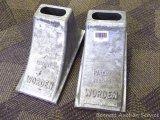Aluminum Worden wheel chocks, made in Albany , NY. 12