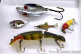 Hofschneider Red Eye Muskie and Red Eye Wiggler fishing lures. Plus a No. 2 Fred Arbogast metal