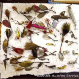 Impressive quantity of fishing lures including Heddon Ace Stanley, GM Skinner No. 9, Pflueger