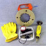 Leather XL gloves, appear new; Wel-Bilt air grinder; wire puller; more.