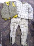 Eddie Bauer insulated goose down vest, size 42; Eddie Bauer insulated goose down shirt and pant set,