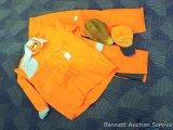 Blaze orange insulated hunting pants, size M; Herter's blaze orange shirt, size L; two caps. Hunting