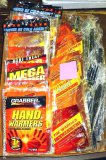 Assorted hand warmers, foot warmer insoles, plastic forks.