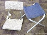 All American boat seat, swivels but not easily; fold-up camp stool.
